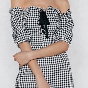 Gingham lace up dress